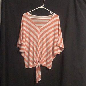 Peach  and white stripped blouse